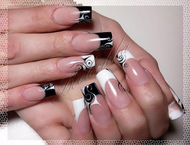 Френч бело черный на ногтях